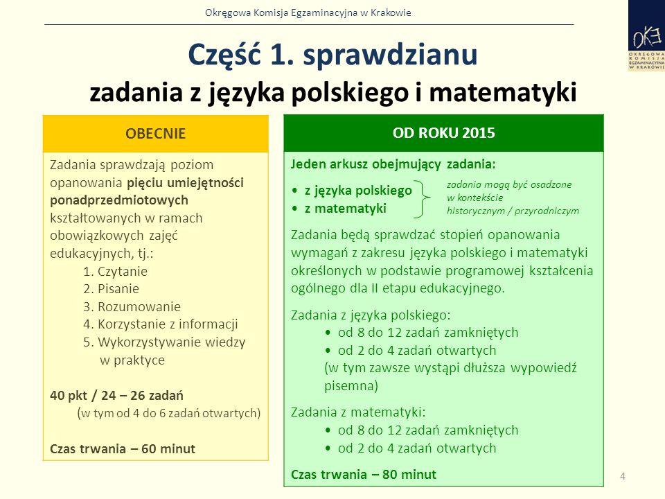 Część 1. sprawdzianu zadania z języka polskiego i matematyki