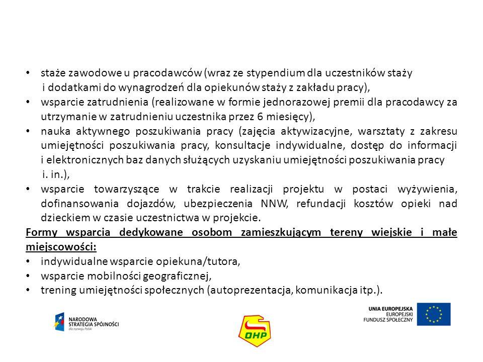 staże zawodowe u pracodawców (wraz ze stypendium dla uczestników staży
