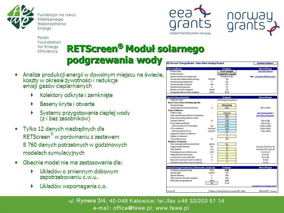 RETScreen® Moduł solarnego podgrzewania wody