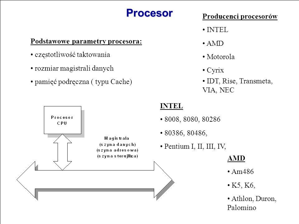 Procesor Producenci procesorów INTEL AMD Motorola