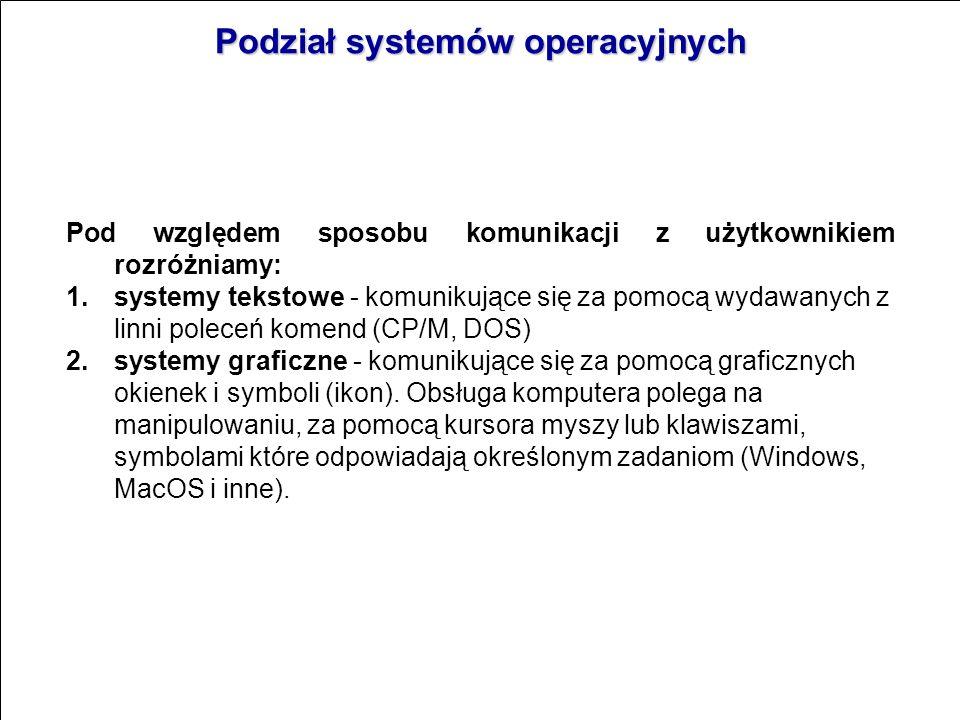 Podział systemów operacyjnych