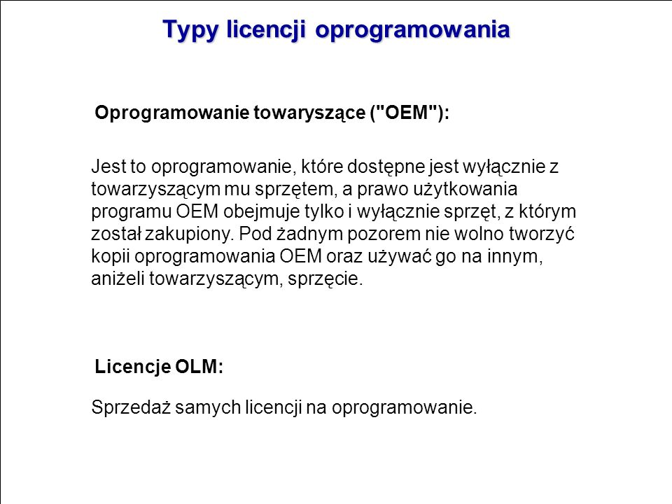 Typy licencji oprogramowania