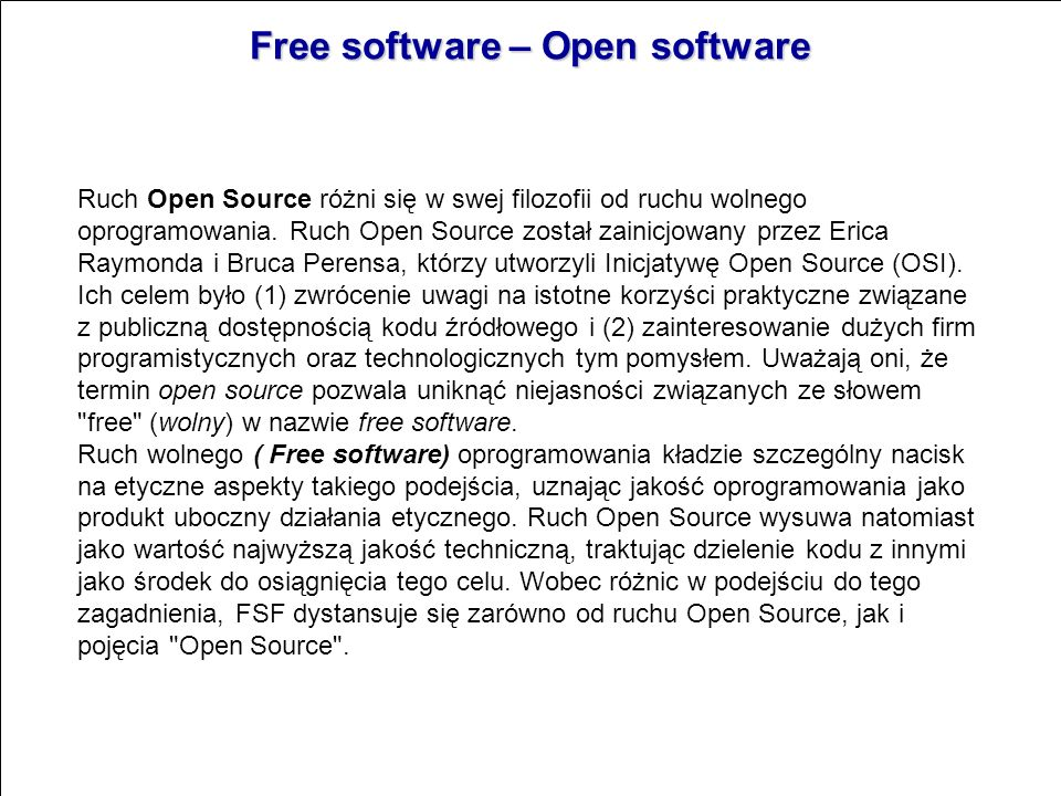 Free software – Open software