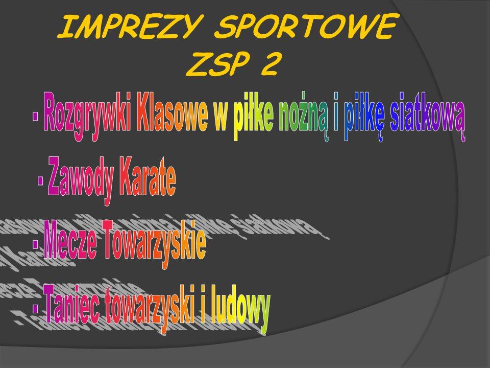 IMPREZY SPORTOWE ZSP 2 - Rozgrywki Klasowe w piłke nożną i piłkę siatkową. - Zawody Karate. - Mecze Towarzyskie.