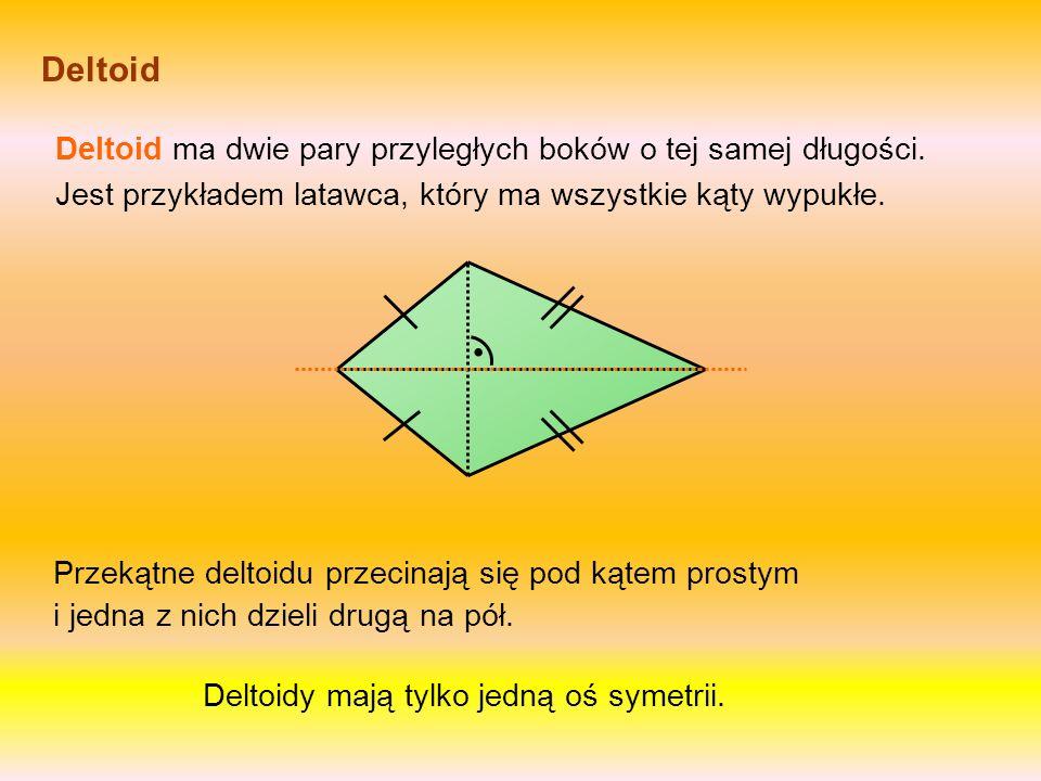 Deltoid Deltoid ma dwie pary przyległych boków o tej samej długości. Jest przykładem latawca, który ma wszystkie kąty wypukłe.