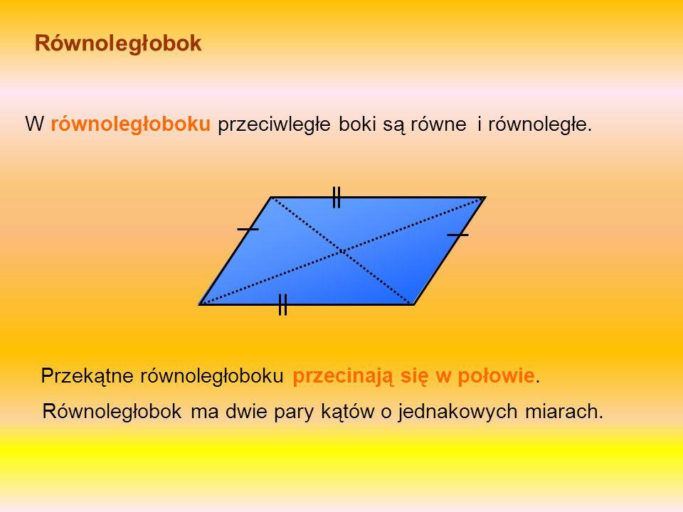 Równoległobok W równoległoboku przeciwległe boki są równe