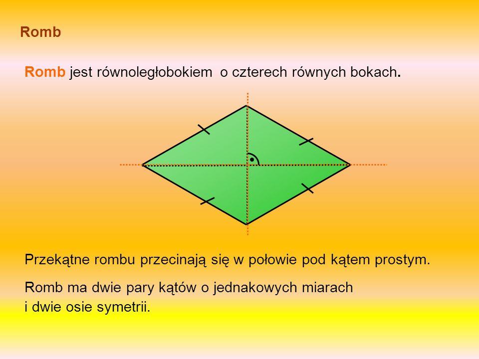 Romb jest równoległobokiem o czterech równych bokach.