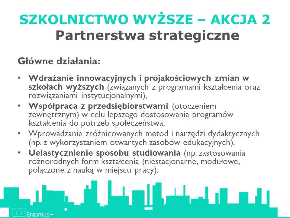SZKOLNICTWO WYŻSZE – AKCJA 2 Partnerstwa strategiczne