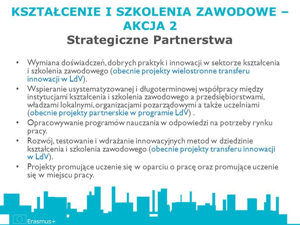 KSZTAŁCENIE I SZKOLENIA ZAWODOWE – AKCJA 2 Strategiczne Partnerstwa