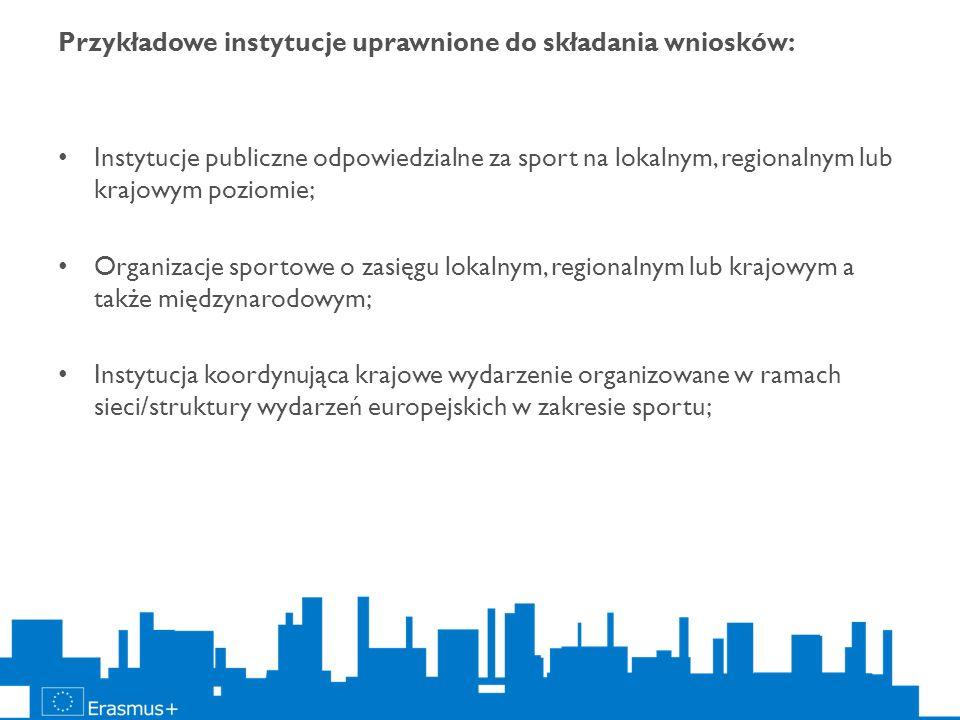 Przykładowe instytucje uprawnione do składania wniosków: