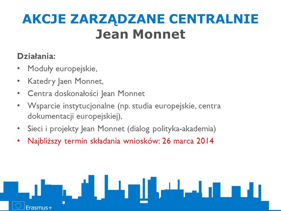 AKCJE ZARZĄDZANE CENTRALNIE Jean Monnet