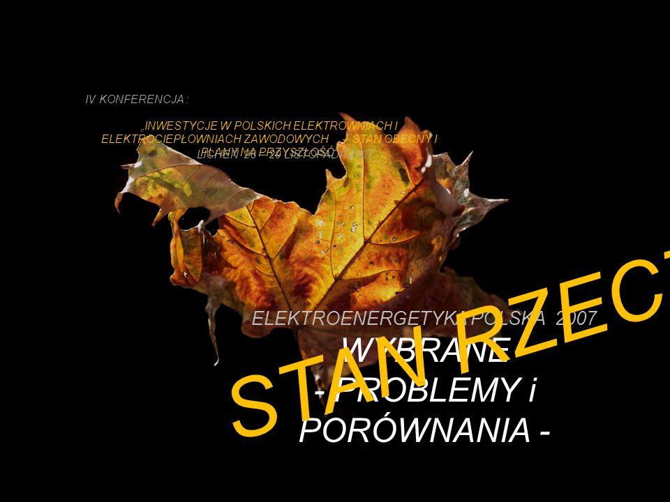 ELEKTROENERGETYKA POLSKA 2007 WYBRANE - PROBLEMY i PORÓWNANIA -