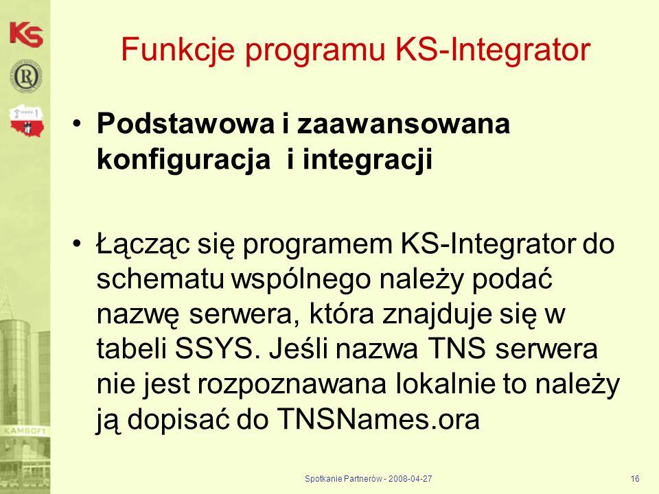 Funkcje programu KS-Integrator