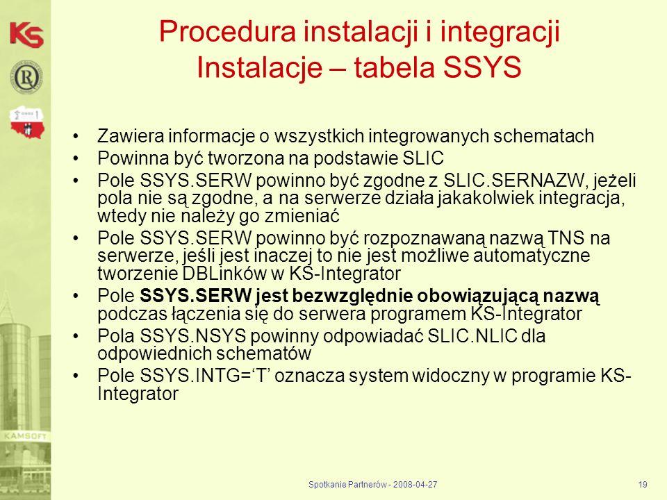 Procedura instalacji i integracji Instalacje – tabela SSYS