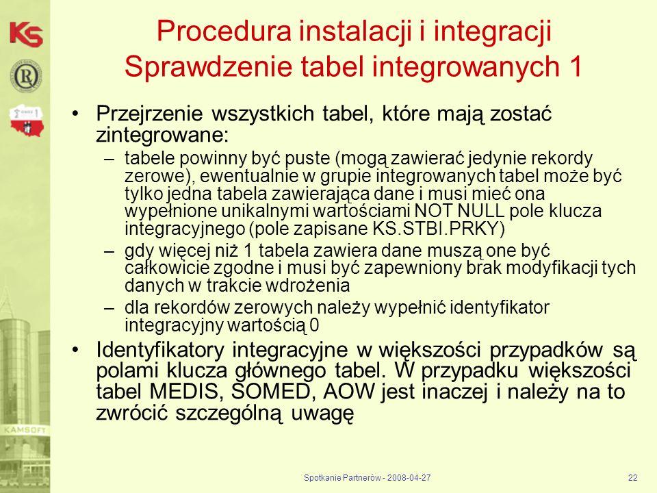 Procedura instalacji i integracji Sprawdzenie tabel integrowanych 1