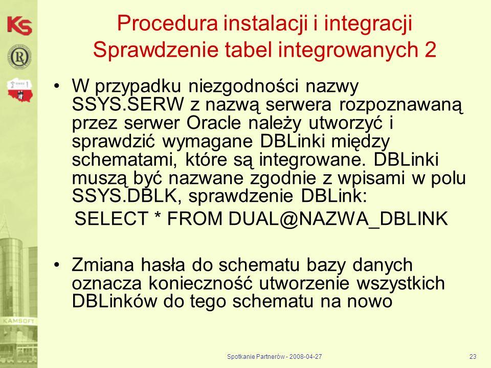Procedura instalacji i integracji Sprawdzenie tabel integrowanych 2
