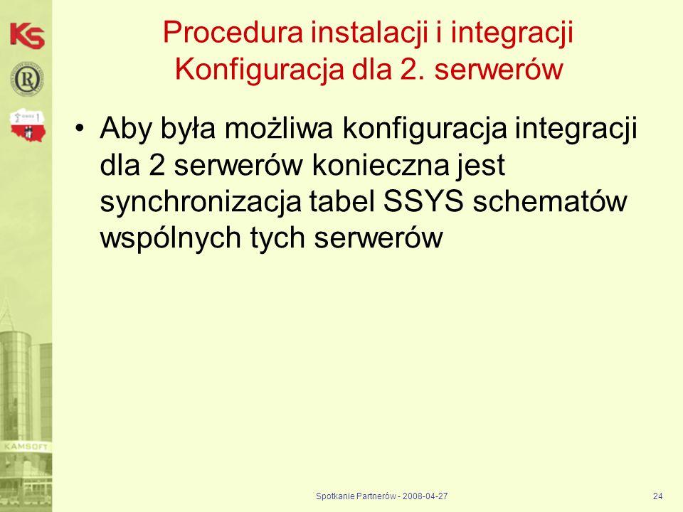 Procedura instalacji i integracji Konfiguracja dla 2. serwerów