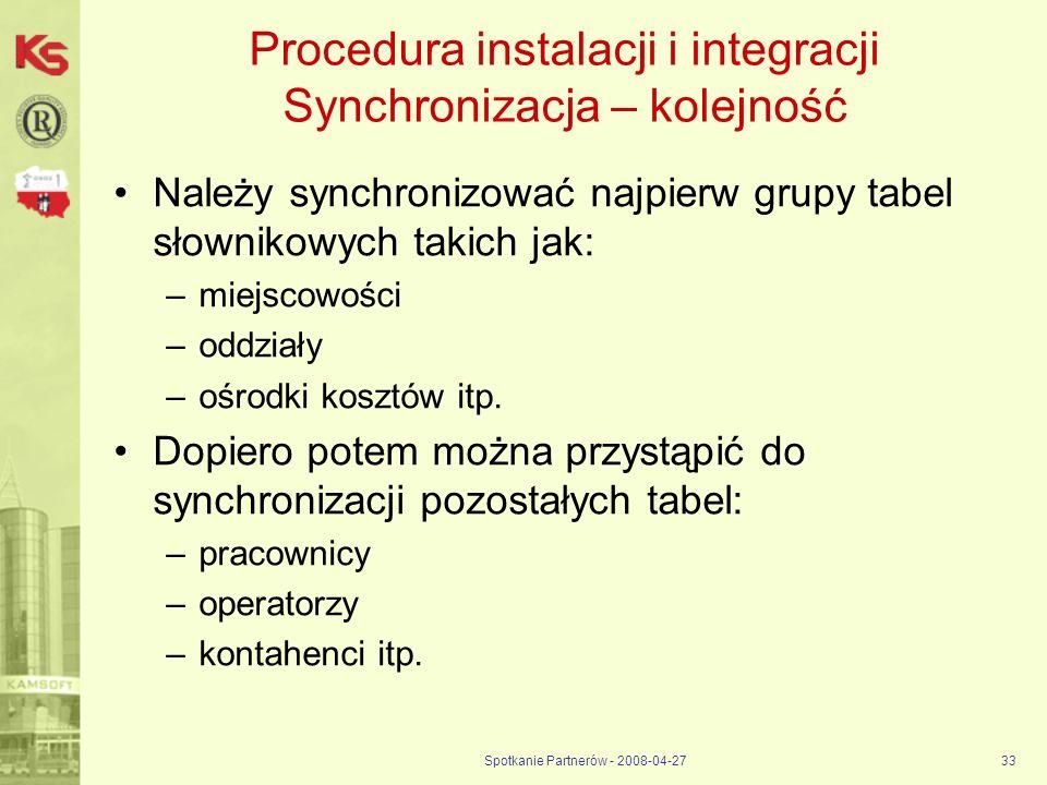 Procedura instalacji i integracji Synchronizacja – kolejność