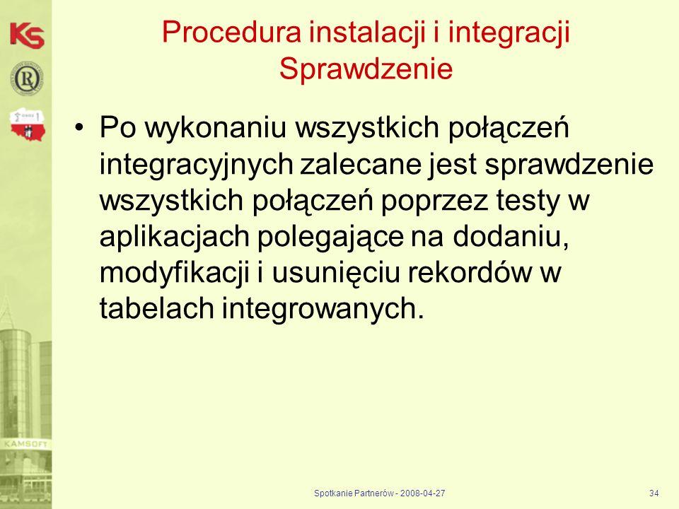 Procedura instalacji i integracji Sprawdzenie