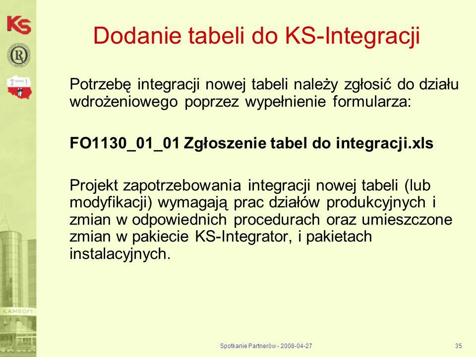Dodanie tabeli do KS-Integracji