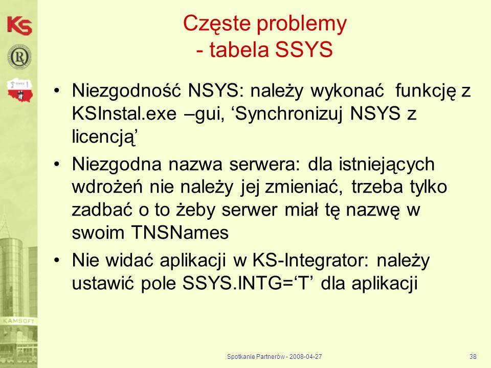 Częste problemy - tabela SSYS