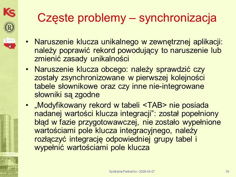 Częste problemy – synchronizacja