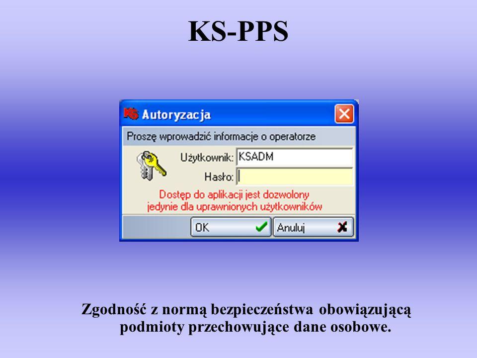 KS-PPS Zgodność z normą bezpieczeństwa obowiązującą podmioty przechowujące dane osobowe.