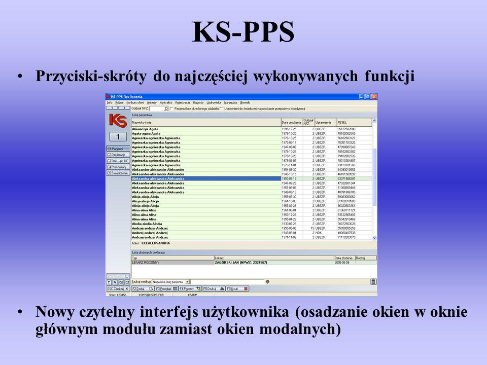 KS-PPS Przyciski-skróty do najczęściej wykonywanych funkcji