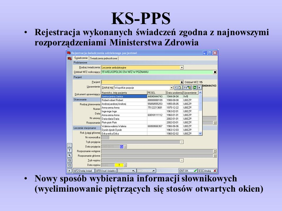 KS-PPS Rejestracja wykonanych świadczeń zgodna z najnowszymi rozporządzeniami Ministerstwa Zdrowia.