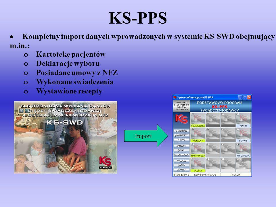 KS-PPS · Kompletny import danych wprowadzonych w systemie KS-SWD obejmujący m.in.: o Kartotekę pacjentów.