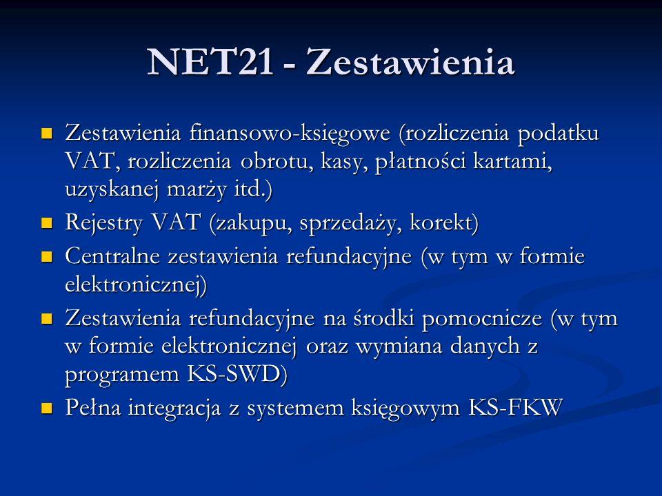 NET21 - Zestawienia Zestawienia finansowo-księgowe (rozliczenia podatku VAT, rozliczenia obrotu, kasy, płatności kartami, uzyskanej marży itd.)