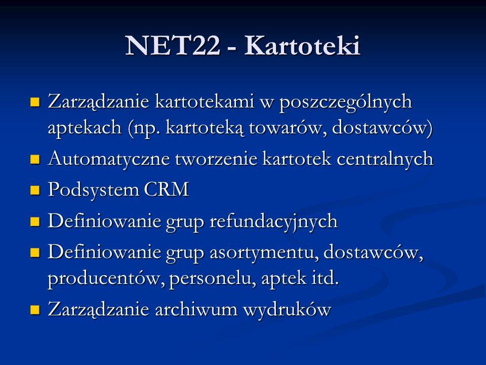 NET22 - Kartoteki Zarządzanie kartotekami w poszczególnych aptekach (np. kartoteką towarów, dostawców)