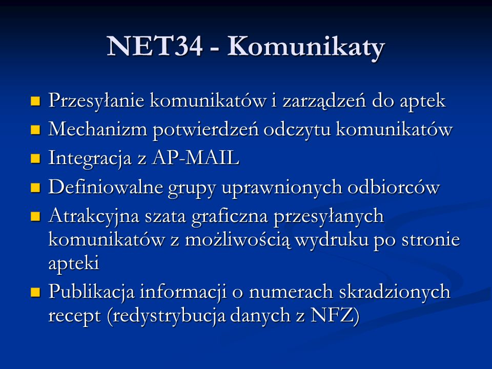 NET34 - Komunikaty Przesyłanie komunikatów i zarządzeń do aptek