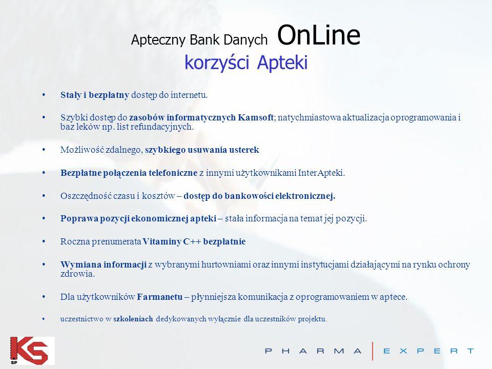 Apteczny Bank Danych OnLine korzyści Apteki