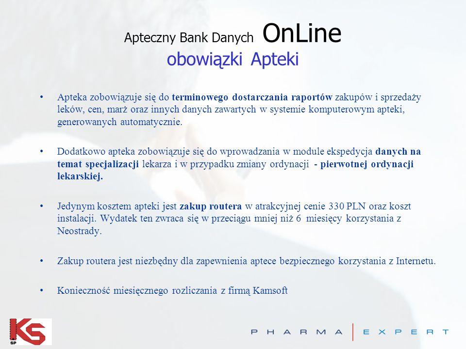 Apteczny Bank Danych OnLine obowiązki Apteki