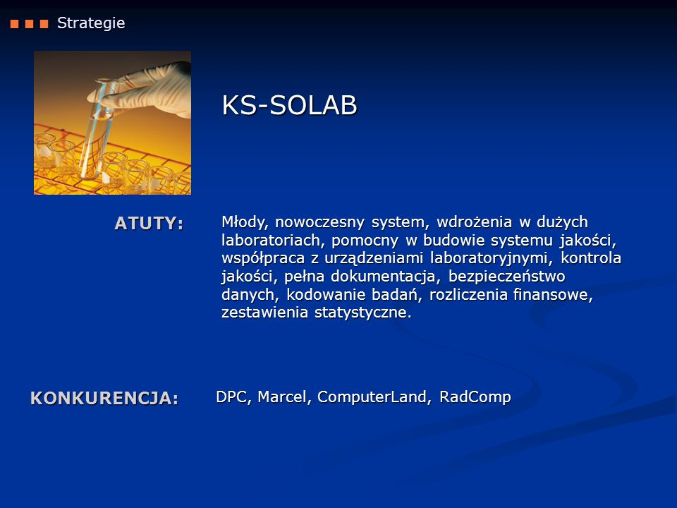 KS-SOLAB ATUTY: KONKURENCJA:  Strategie