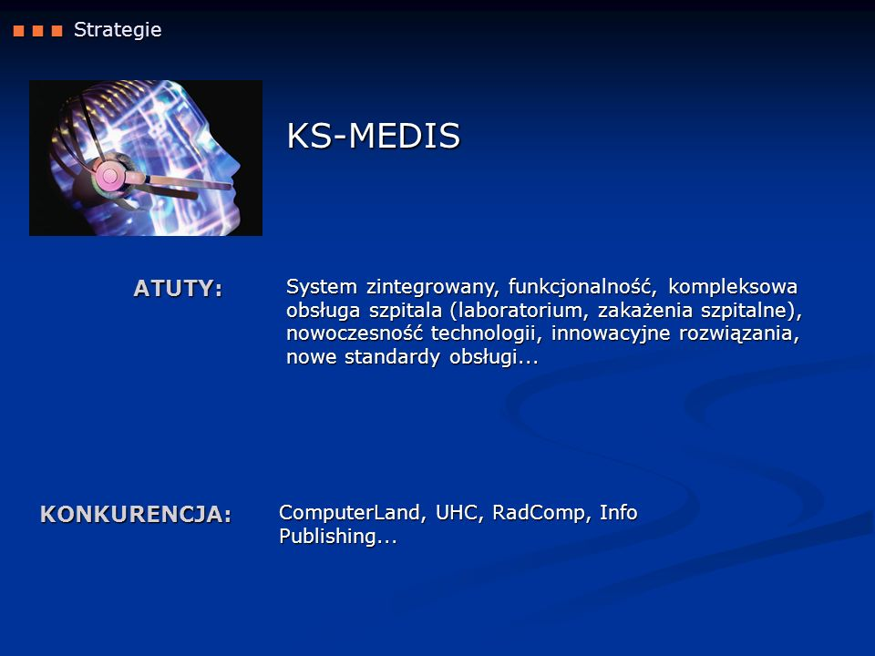 KS-MEDIS ATUTY: KONKURENCJA:  Strategie