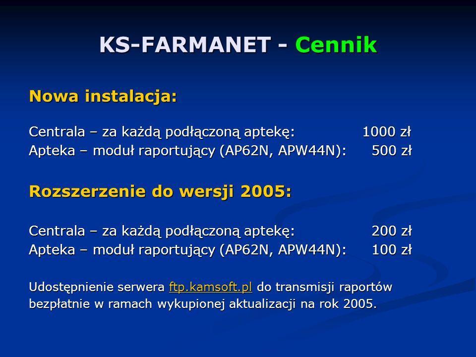 KS-FARMANET - Cennik Nowa instalacja: Rozszerzenie do wersji 2005: