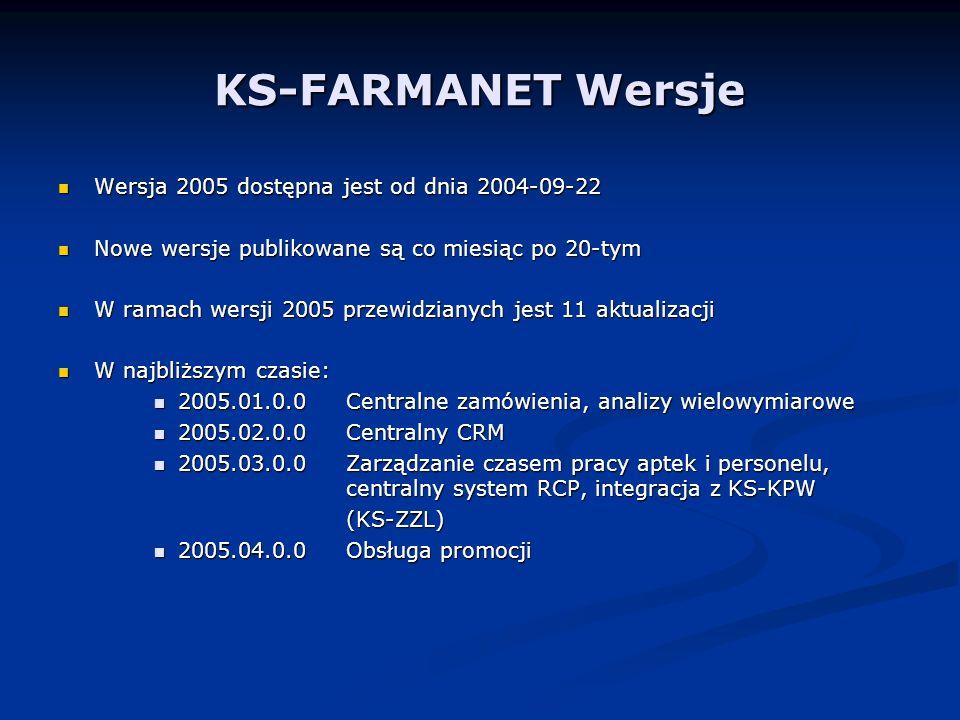 KS-FARMANET Wersje Wersja 2005 dostępna jest od dnia 2004-09-22