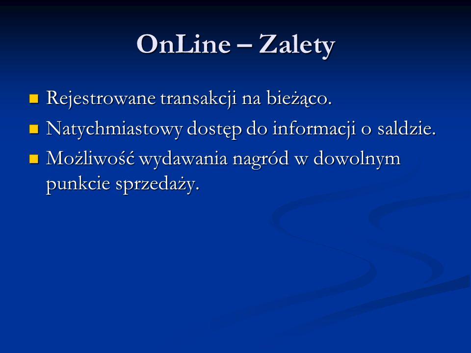 OnLine – Zalety Rejestrowane transakcji na bieżąco.