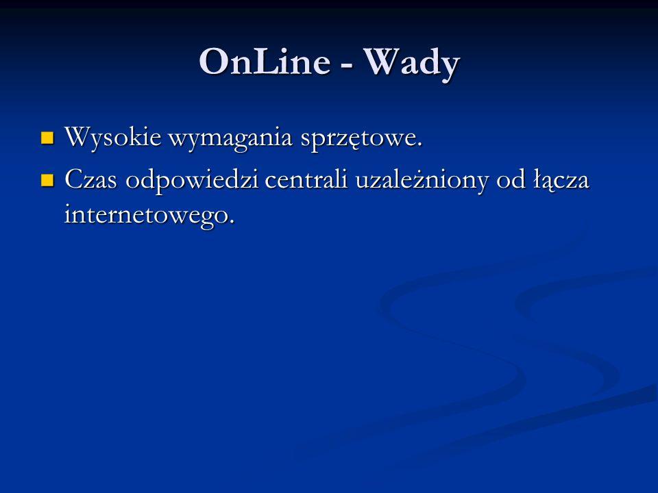OnLine - Wady Wysokie wymagania sprzętowe.