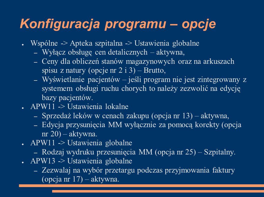 Konfiguracja programu – opcje