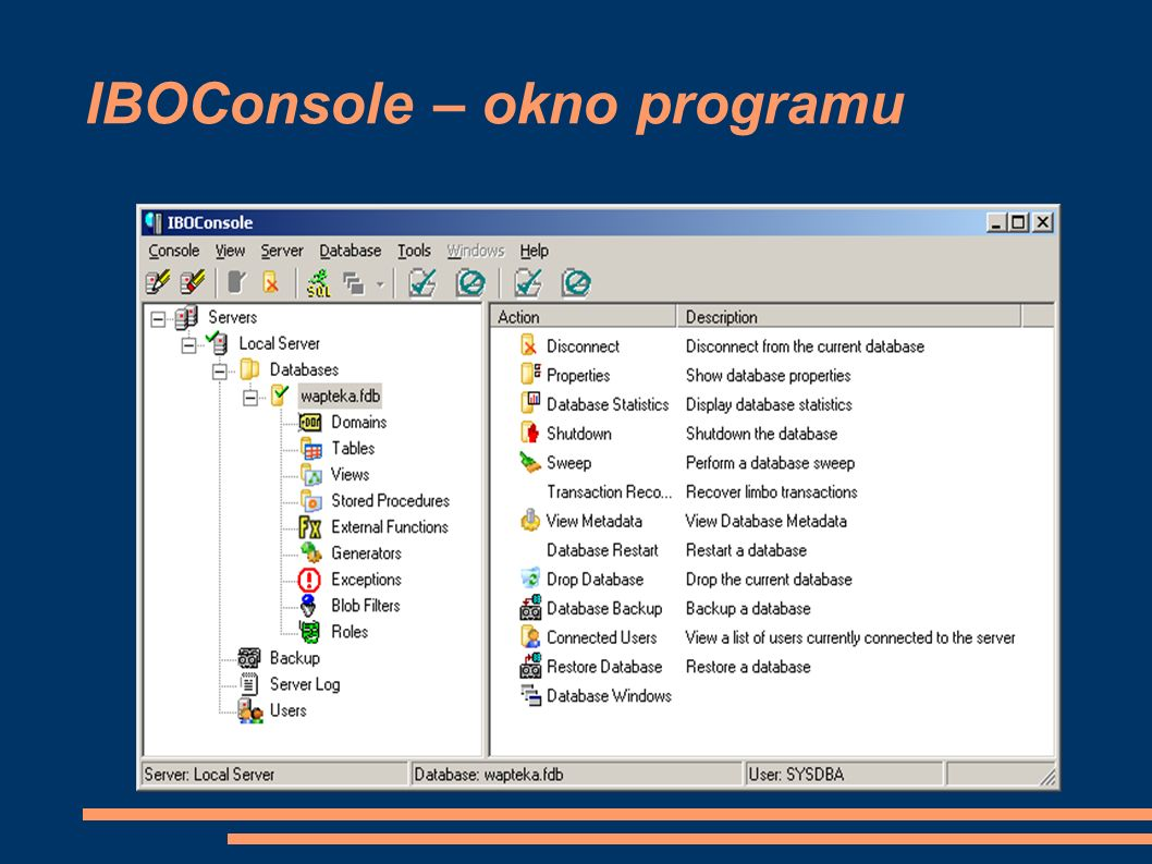 IBOConsole – okno programu
