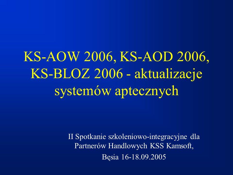 KS-AOW 2006, KS-AOD 2006, KS-BLOZ 2006 - aktualizacje systemów aptecznych