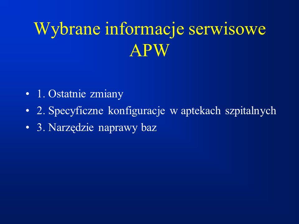 Wybrane informacje serwisowe APW