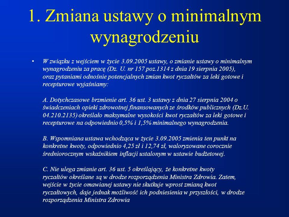 1. Zmiana ustawy o minimalnym wynagrodzeniu