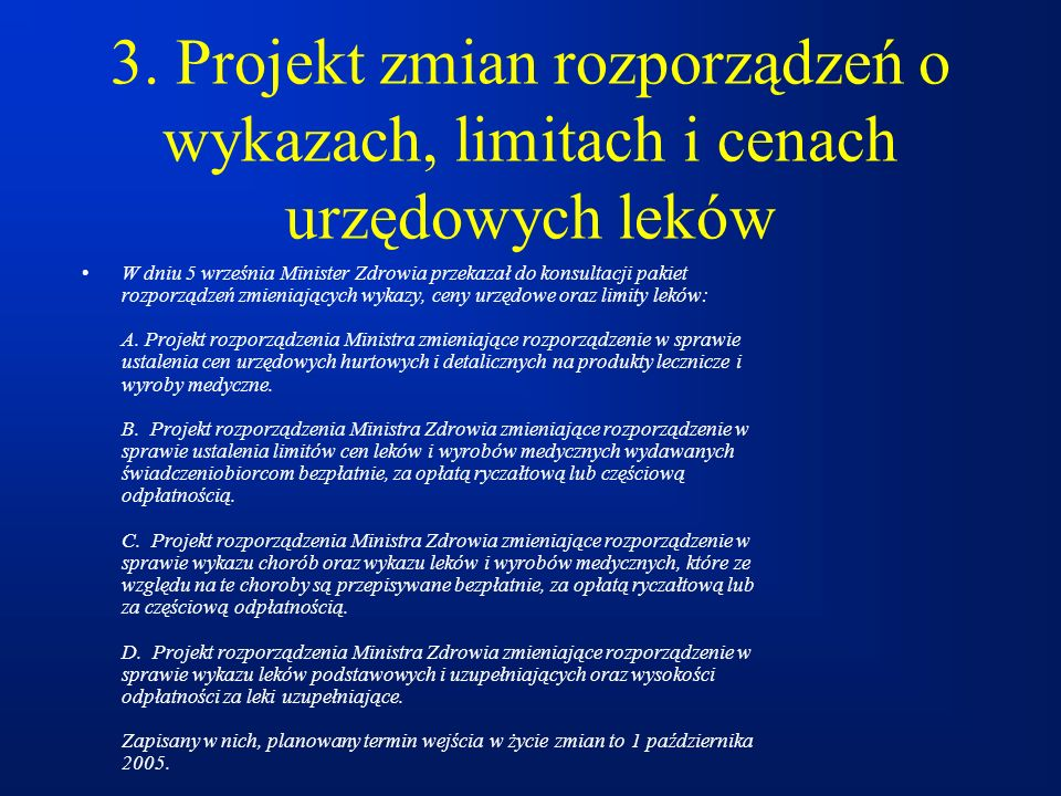 3. Projekt zmian rozporządzeń o wykazach, limitach i cenach urzędowych leków