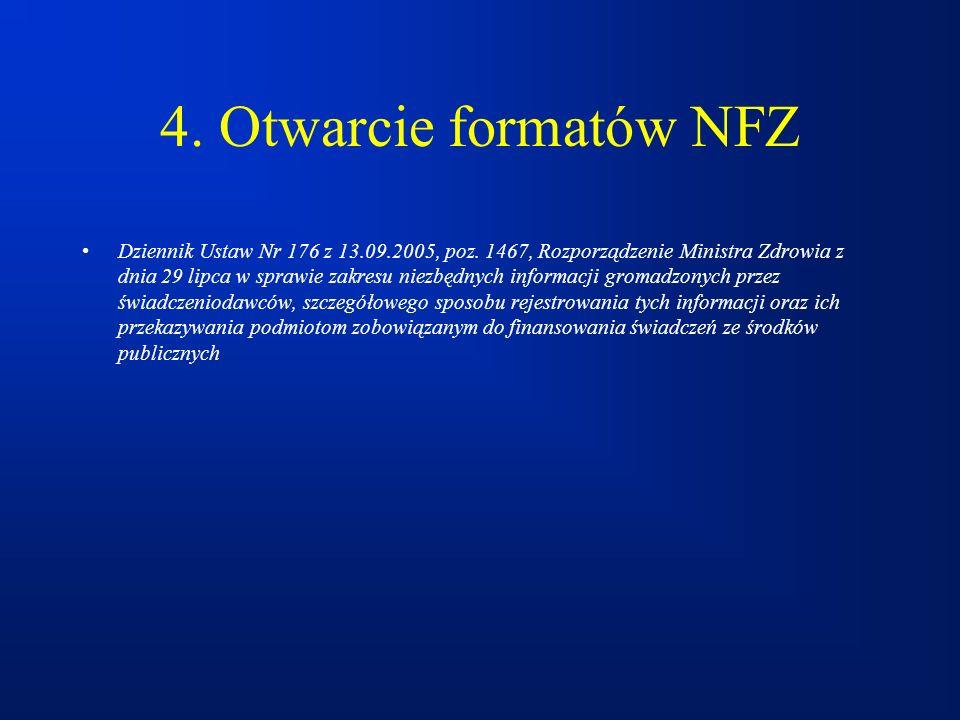 4. Otwarcie formatów NFZ