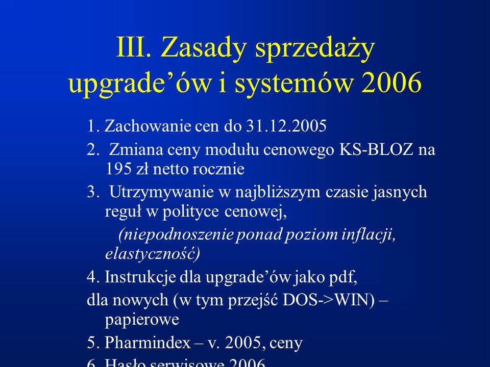 III. Zasady sprzedaży upgrade'ów i systemów 2006