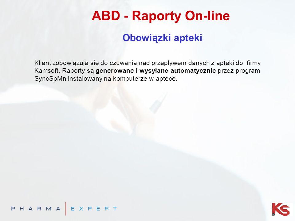 ABD - Raporty On-line Obowiązki apteki